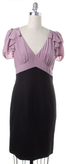 REBECCA TAYLOR Black Purple Colorblock Wool V Neck Ruffled Sheath Dress