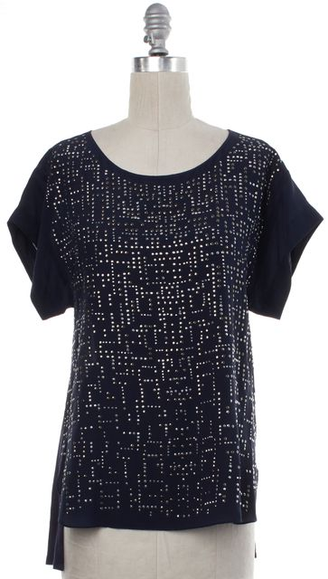 REBECCA TAYLOR Navy Blue Silk Silver Studded T Shirt