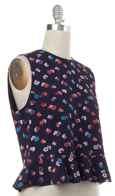 REBECCA TAYLOR Navy Blue Floral Sleeveless Top