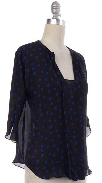 REBECCA TAYLOR Black Blue Polka Dot Silk Blouse