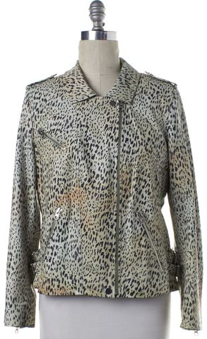 REBECCA TAYLOR Green Leather Ombre Leopard Zip Up Jacket