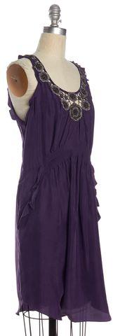 REBECCA TAYLOR Purple Embellished Silk Sheath Dress