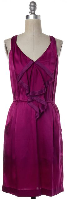 REBECCA TAYLOR Magenta Purple Silk Ruffle Sheath Dress