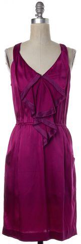 REBECCA TAYLOR Magenta Purple Silk Ruffle Sheath Dress