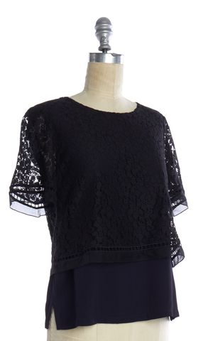 REBECCA TAYLOR Black Navy Blue Lace Layered Top