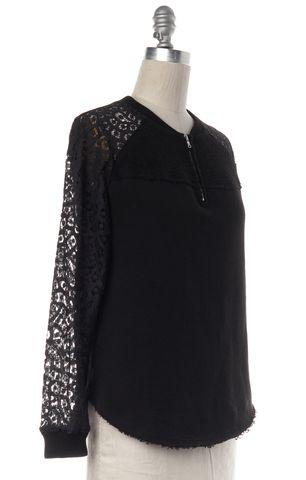 REBECCA TAYLOR Black Navy Blue Lace Sleeve Sweatshirt