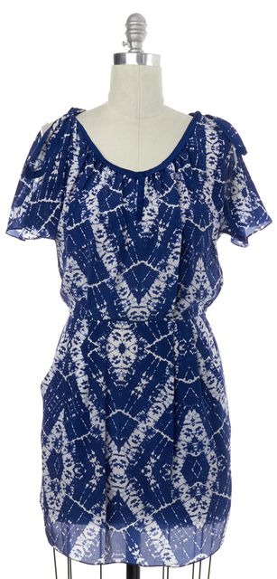 REBECCA TAYLOR Blue White Print Silk Blouson Dress