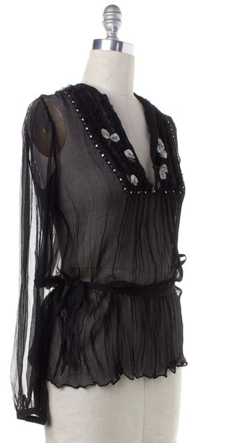 REBECCA TAYLOR Black Silk Bead Sequin Embellished Sheer Blouse