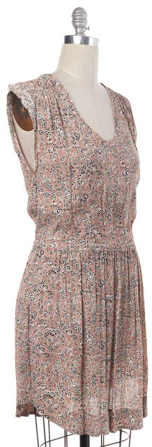 REBECCA TAYLOR Brown Floral Print Pleated Open Back Dress