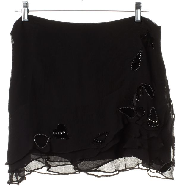REBECCA TAYLOR Black Embellished Velvet Silk Mini Skirt