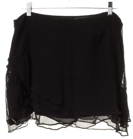 REBECCA TAYLOR Black Embellished Velvet Silk Mini Skirt