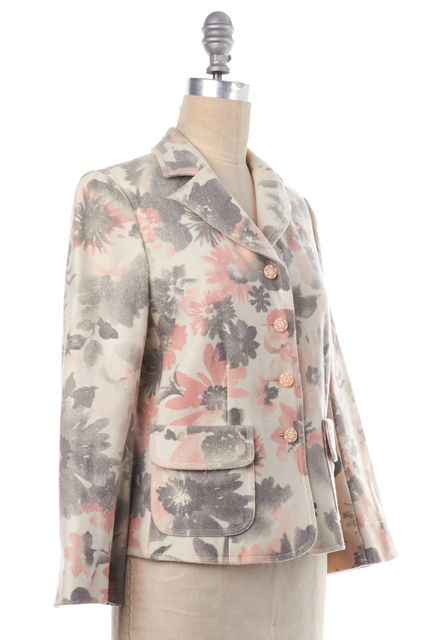 REBECCA TAYLOR Ivory Pink Gray Floral Print Wool Jacket
