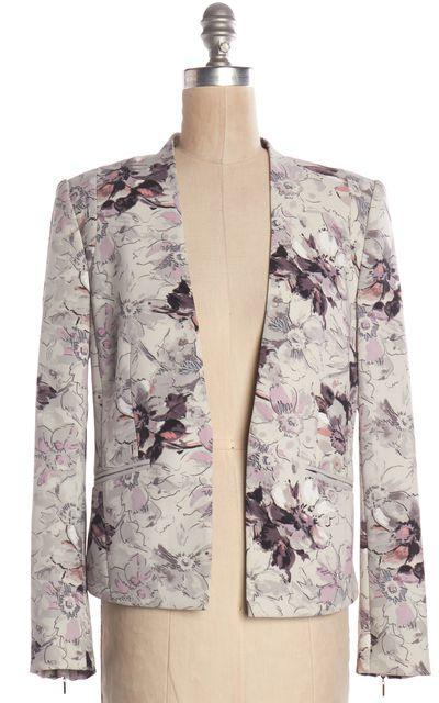 REBECCA TAYLOR Gray Multi Floral Open Blazer Jacket
