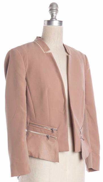 REBECCA TAYLOR Blush Pink Leather & Zipper Trim Open Blazer