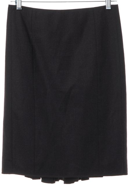 REBECCA TAYLOR Brown Wool Pleated Back Bows Straight Skirt