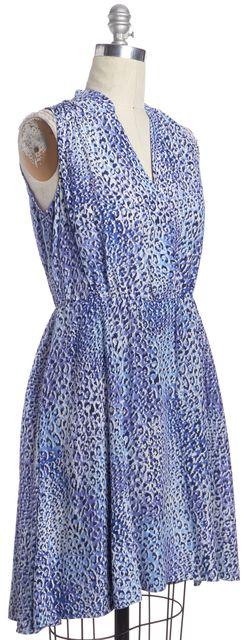 REBECCA TAYLOR Blue Leopard Print Silk Blouson Dress