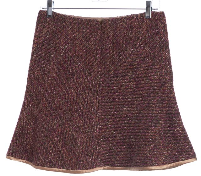 REBECCA TAYLOR Purple Pink Tweed A-Line Skirt
