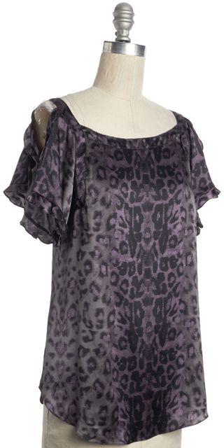 REBECCA TAYLOR Purple Leopard Print Silk Cold Shoulder Top