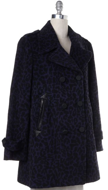 REBECCA TAYLOR Black Purple Leopard Print Wool Double Breasted Coat