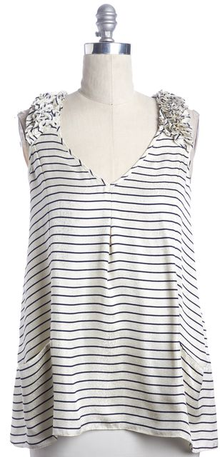 REBECCA TAYLOR Ivory Navy Blue Striped Ruffle Sleeve Casual Silk Blouse Top