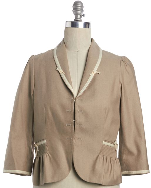 REBECCA TAYLOR Beige 3/4 Sleeve Jacket