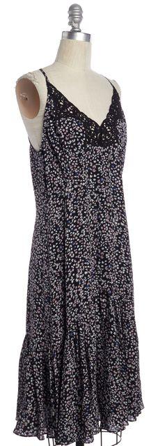 REBECCA TAYLOR Black Multi Floral Silk Lace Trim Ruffle Hem Shift Dress