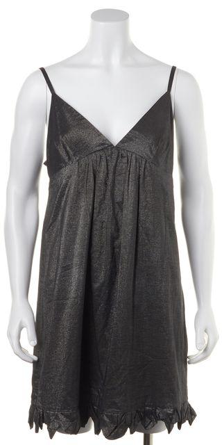 REBECCA TAYLOR Metallic Gray Ruffle Shift Casual Summer Dress