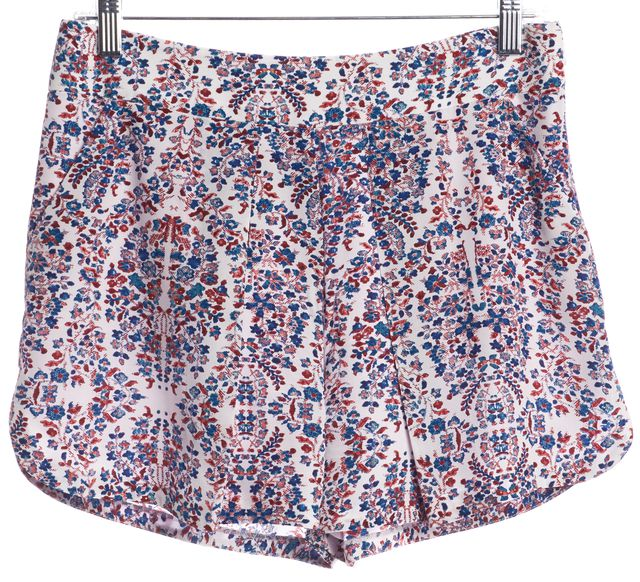 REBECCA TAYLOR White Blue Red Floral Printed Silk Dress Shorts