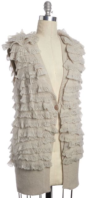 REBECCA TAYLOR Beige Ruffle Sleeveless Single Button Cardigan