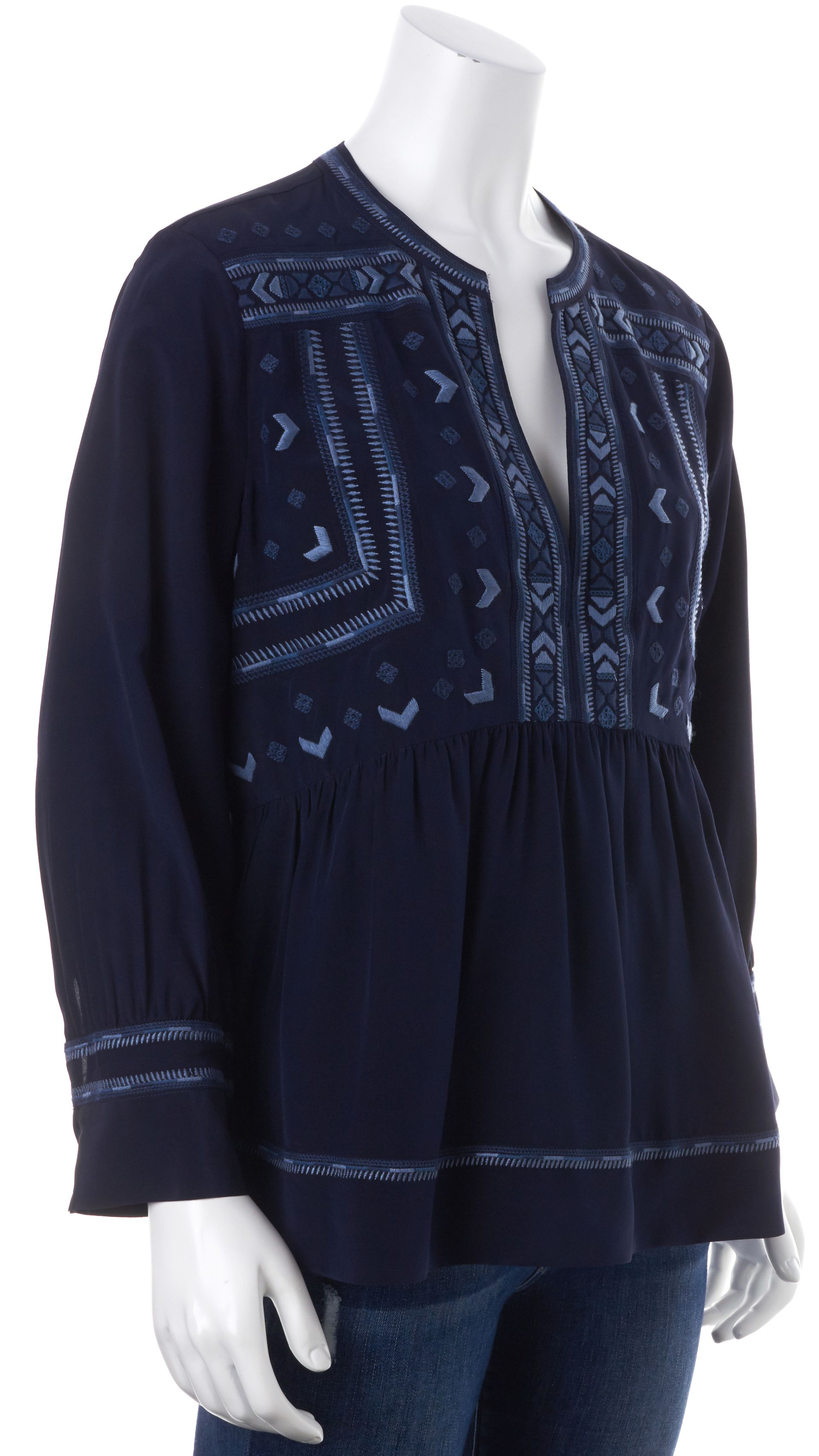 Rebecca Taylor Navy Blue Embroidered Silk Long Sleeve Tunic Blouse ...