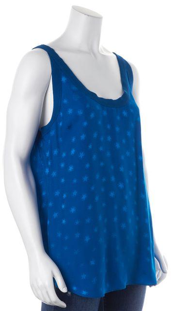 REBECCA TAYLOR Blue Star Print Ribbed Trim Silk Tank Top