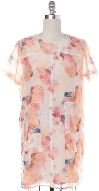 REBECCA TAYLOR Pink Floral Printed Cotton Silk Short Sleeve Shift Dress
