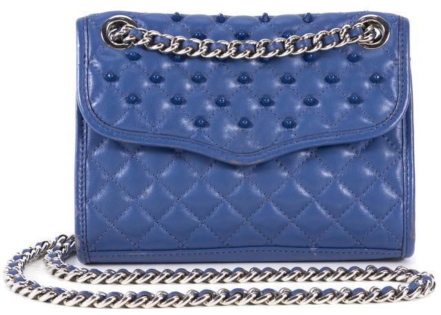 REBECCA TAYLOR Blue Quilted Studded Leather Crossbody