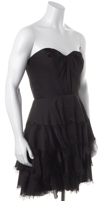 REBECCA TAYLOR Black Strapless Layered Tiered Formal Fit & Flare Dress