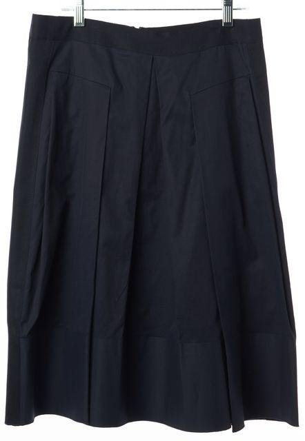 REBECCA TAYLOR Navy Poplin A-Line Skirt