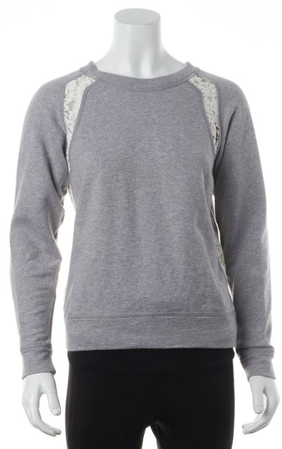 REBECCA TAYLOR Gray Lace Sweatshirt Top