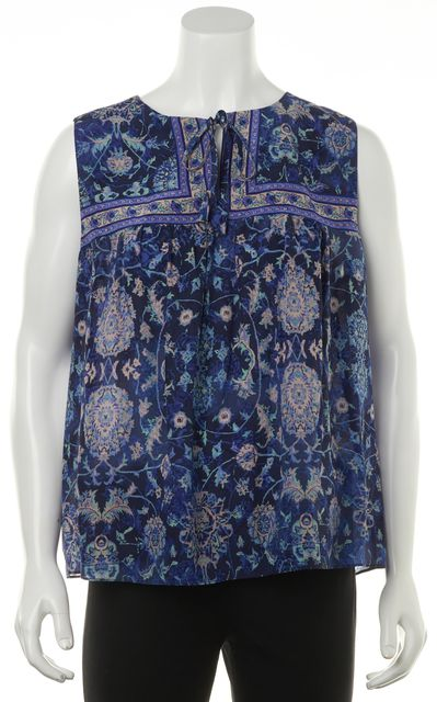 REBECCA TAYLOR Blue Purple Floral Print Silk Neck Tie Sleeveless Blouse Top