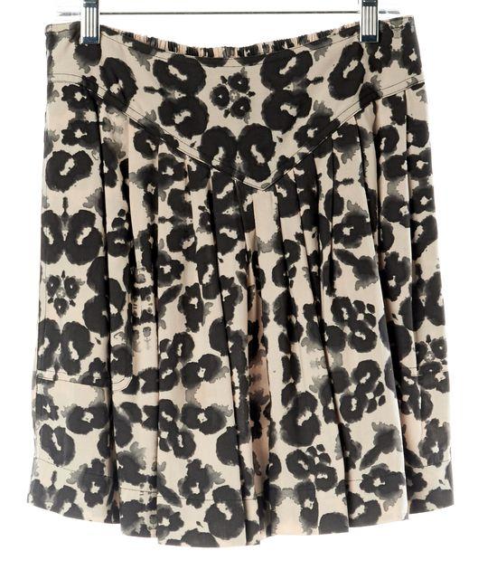 REBECCA TAYLOR Blush Black Leopard Print Summer Mini Pleated Skirt