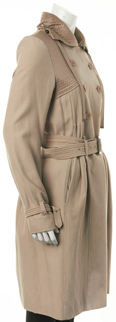 REBECCA TAYLOR Beige Double Breasted Belted Casual Silk Trench Jacket