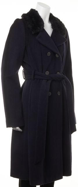REBECCA TAYLOR Navy Blue Wool Double Breasted Faux Fur Trim Belted Coat