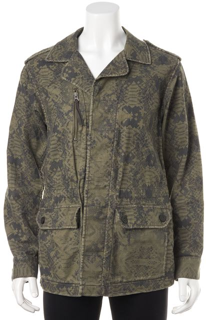 REBECCA TAYLOR Olive Green Black Abstract Print Casual Linen Basic Jacket