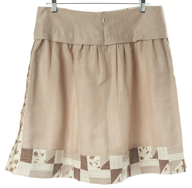 REBECCA TAYLOR Ivory Beige Striped Abstract Print Linen A-Line Skirt