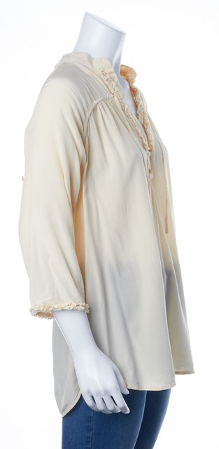 REBECCA TAYLOR Ivory Silk Ruffled Tie Neck 3/4 Sleeve Blouse Top