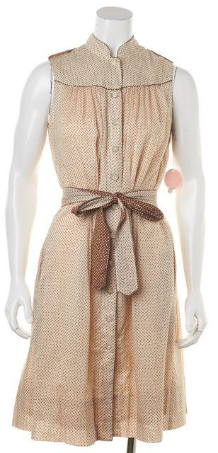REBECCA TAYLOR Beige Polka Dot Embellished Buttons Belted Shirt Dress