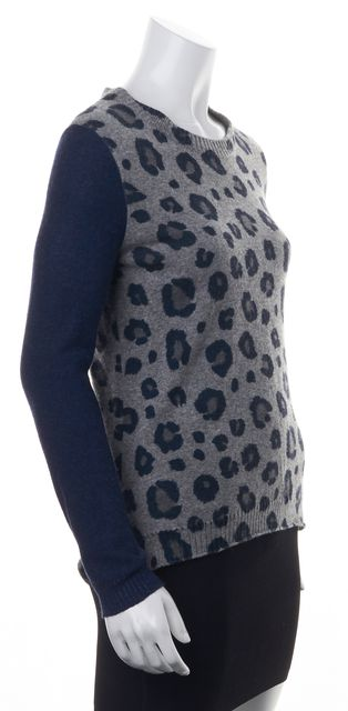 REBECCA TAYLOR Gray Blue Sleeve Abstract Print Wool Boat Neck Sweater