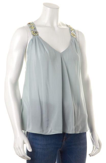 REBECCA TAYLOR Light Blue Sequin Embellished Tank Top Blouse