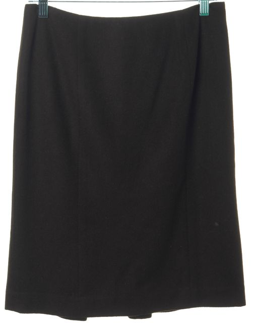 REBECCA TAYLOR Brown Wool Blend Pleated Back Straight Skirt