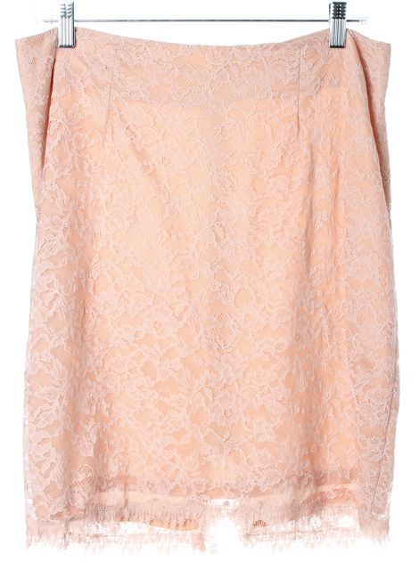 REBECCA TAYLOR Baby Pink Lace Above Knee Straight Skirt