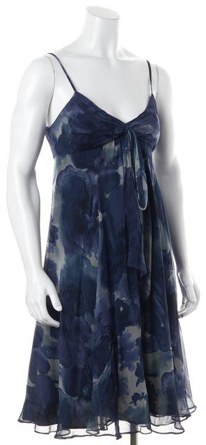 REBECCA TAYLOR Blue Multi Watercolor Floral Printed Silk Sheath Dress