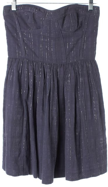REBECCA TAYLOR Blue-Gray Silver Strapless Pleated Fit & Flare Dress